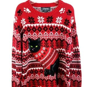 Black Cat Holiday Winter Crewneck  Sweater